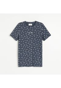 Niebieski t-shirt Reserved z nadrukiem
