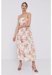 BARDOT - Bardot - Sukienka. Kolor: biały. Materiał: tkanina. Długość rękawa: na ramiączkach. Typ sukienki: rozkloszowane
