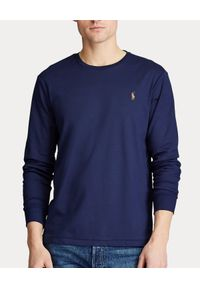 Ralph Lauren - RALPH LAUREN - Granatowa koszulka z długim rękawem Custom Fit. Okazja: na co dzień. Typ kołnierza: polo. Kolor: niebieski. Materiał: tkanina, bawełna. Długość rękawa: długi rękaw. Długość: długie. Wzór: haft, kolorowy, aplikacja. Styl: casual, sportowy