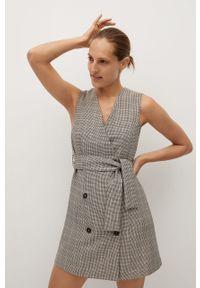 Brązowa sukienka mango mini, na ramiączkach, na spotkanie biznesowe