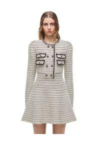 SELF PORTRAIT - Dzianinowa sukienka mini. Kolor: czarny. Materiał: dzianina. Długość rękawa: długi rękaw. Długość: mini