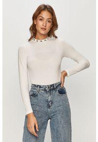 Biała bluzka z długim rękawem Calvin Klein Jeans casualowa, na co dzień, z nadrukiem