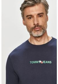 Niebieska koszulka z długim rękawem Tommy Jeans casualowa, na co dzień
