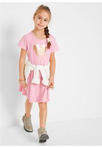 Sukienka dziewczęca z dżerseju, krótki rękaw (2 szt.) bonprix pudrowy jasnoróżowy + jasnoszary melanż. Kolor: różowy. Materiał: jersey. Długość rękawa: krótki rękaw. Wzór: melanż #5