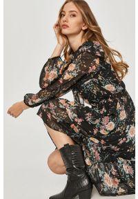 Czarna sukienka Answear Lab na co dzień, z długim rękawem, w kwiaty, wakacyjna