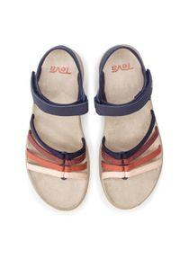 Niebieskie sandały Teva na co dzień, w kolorowe wzory, casualowe