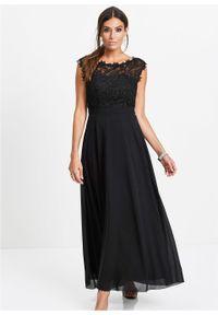 Czarna sukienka bonprix maxi, wizytowa, w koronkowe wzory