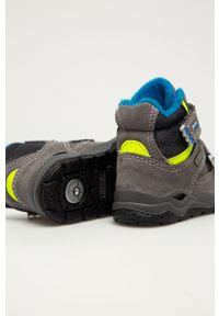 Szare buty zimowe Primigi z cholewką, z okrągłym noskiem, na zimę, na rzepy
