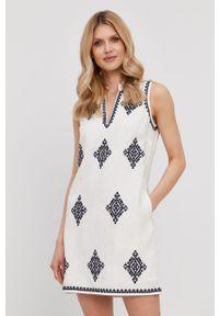 Biała sukienka Tory Burch mini, prosta