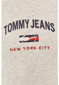 Szara bluza nierozpinana Tommy Jeans casualowa, na co dzień, z kapturem