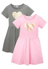 Sukienka dziewczęca z dżerseju, krótki rękaw (2 szt.) bonprix pudrowy jasnoróżowy + jasnoszary melanż. Kolor: różowy. Materiał: jersey. Długość rękawa: krótki rękaw. Wzór: melanż