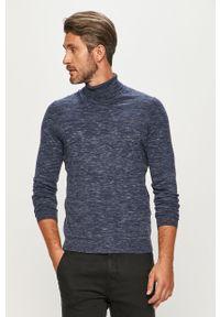 Niebieski sweter s.Oliver melanż, z golfem