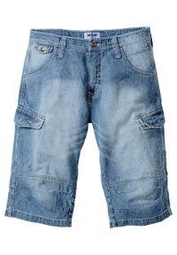 """Długie bermudy dżinsowe Loose Fit bonprix średni niebieski """"used"""". Kolor: niebieski. Długość: długie"""