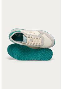 Białe buty sportowe Pepe Jeans na sznurówki, z cholewką, na średnim obcasie, z okrągłym noskiem
