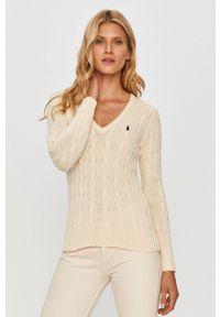 Kremowy sweter Polo Ralph Lauren polo, długi, z długim rękawem