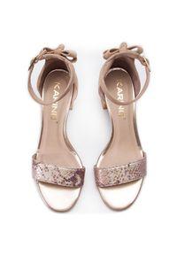 Beżowe sandały Karino na obcasie, na średnim obcasie #6