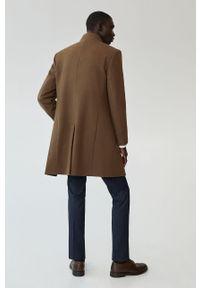 Brązowy płaszcz Mango Man casualowy, na co dzień, bez kaptura