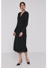 DKNY - Dkny - Sukienka. Okazja: na co dzień. Kolor: czarny. Typ sukienki: proste, plisowane. Styl: casual