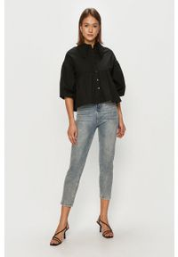 Czarna koszula Vero Moda gładkie, klasyczna, długa
