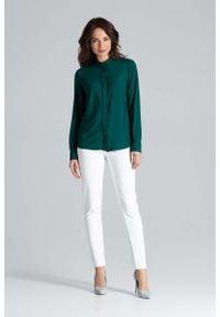 Katrus - Zielona Klasyczna Koszula z Długim Rękawem. Kolor: zielony. Materiał: poliester, elastan. Długość rękawa: długi rękaw. Długość: długie. Styl: klasyczny