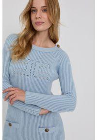 Elisabetta Franchi - Sukienka. Kolor: niebieski. Długość rękawa: długi rękaw. Typ sukienki: dopasowane