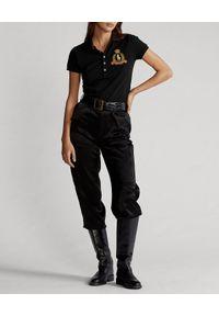 Ralph Lauren - RALPH LAUREN - Koszulka polo Slim Fit. Okazja: na co dzień. Typ kołnierza: polo. Kolor: czarny. Materiał: bawełna. Wzór: haft. Styl: casual