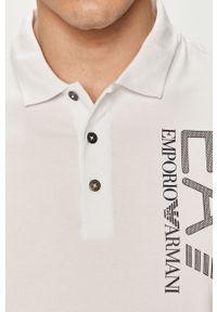 Biała koszulka polo EA7 Emporio Armani krótka, polo, z nadrukiem, casualowa