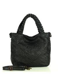 Pleciona shopperka MARCO MAZZINI czarny v183a. Kolor: czarny. Materiał: skórzane. Rodzaj torebki: do ręki