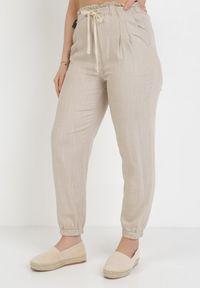 Beżowe spodnie z wysokim stanem Born2be