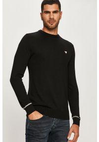 Czarny sweter Guess Jeans długi, z okrągłym kołnierzem