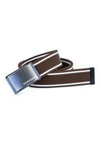 BRODRENE - Pasek męski do spodni parciany Brodrene P07G brązowo-czarny. Kolor: biały, wielokolorowy, brązowy. Materiał: jeans, materiał. Styl: elegancki