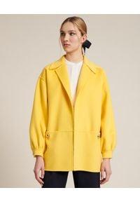 Luisa Spagnoli - LUISA SPAGNOLI - Żółty płaszcz Videoclip. Okazja: na co dzień. Kolor: żółty. Materiał: bawełna. Długość rękawa: długi rękaw. Długość: długie. Styl: klasyczny, casual