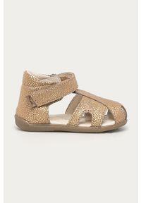 Złote sandały Mrugała na rzepy