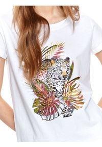 DRYWASH - T-shirt damski z egzotycznym nadrukiem. Kolor: biały. Materiał: tkanina, bawełna. Długość rękawa: krótki rękaw. Długość: krótkie. Wzór: nadruk. Sezon: lato. Styl: wakacyjny