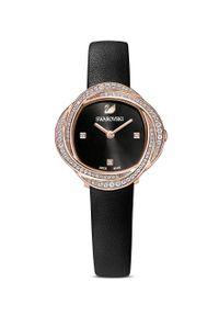Swarovski - Zegarek CRYSTAL FLOWER. Kolor: czarny. Materiał: skóra, materiał