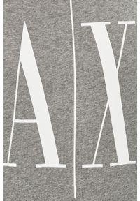 Szary t-shirt Armani Exchange casualowy, z nadrukiem