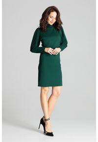 Lenitif - Elegancka sukienka ze stójką i bufiastymi rękawami zielona. Okazja: do pracy. Typ kołnierza: kołnierzyk stójkowy. Kolor: zielony. Długość rękawa: długi rękaw. Styl: elegancki. Długość: midi