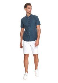 TOP SECRET - Koszula z lnem. Typ kołnierza: kołnierzyk klasyczny. Kolor: niebieski. Materiał: len. Długość rękawa: krótki rękaw. Długość: krótkie. Wzór: kropki. Sezon: lato. Styl: klasyczny #4