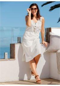 Sukienka lniana midi z plisą guzikową bonprix biel wełny. Kolor: biały. Materiał: len, wełna. Długość: midi