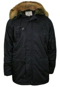 Niebieska kurtka Gustaff na zimę, z kapturem