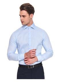 TOP SECRET - Koszula strukturalna dopasowana. Kolor: niebieski. Materiał: tkanina. Długość rękawa: długi rękaw. Długość: długie. Sezon: zima, jesień. Styl: elegancki