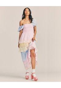 LOVE SHACK FANCY - Długa sukienka Capella. Typ kołnierza: dekolt kwadratowy. Kolor: niebieski. Materiał: materiał. Wzór: kwiaty, haft. Długość: maxi