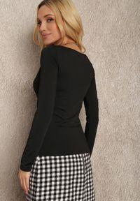 Renee - Czarna Bluzka Ageris. Kolor: czarny. Materiał: tkanina, dzianina, materiał, jeans. Długość rękawa: długi rękaw. Długość: długie. Wzór: aplikacja. Styl: elegancki