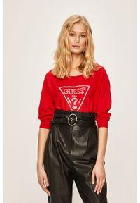 Czerwony sweter Guess Jeans z aplikacjami, casualowy, na co dzień