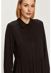 Czarna sukienka Vila na co dzień, z długim rękawem, gładkie