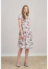 Marie Zélie - Sukienka Melania Belleza kremowa. Kolor: kremowy. Materiał: materiał, tkanina, bawełna, wiskoza. Długość rękawa: krótki rękaw
