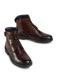Brązowe buty zimowe Lasocki For Men z cholewką, z cholewką przed kolano