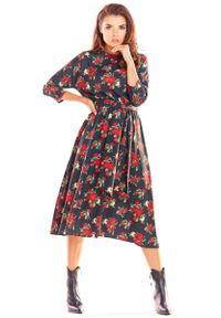 Czarna sukienka wizytowa Awama w kwiaty, midi