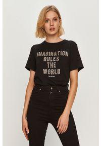 Czarna bluzka Trussardi Jeans casualowa, z nadrukiem
