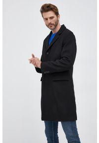 United Colors of Benetton - Płaszcz wełniany. Okazja: na co dzień. Kolor: czarny. Materiał: wełna. Wzór: gładki. Styl: casual